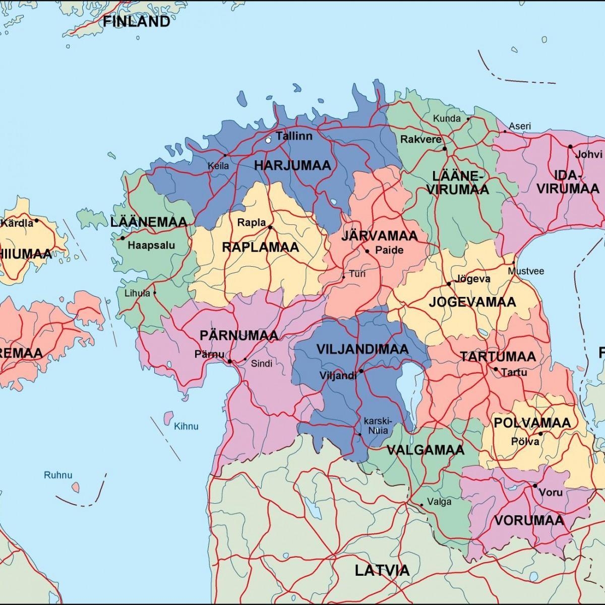 Estonia Politike Harta Harta E Estoni Politike Veriore Evrope